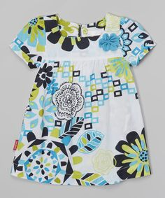 Look what I found on #zulily! Turquoise Floral Square-Neck Dress - Toddler & Girls #zulilyfinds