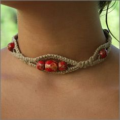 Interesting Hemp and Bead Necklace