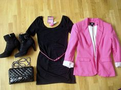 my hot pink H blazer outfit - ixnay the boots tho, yuck!