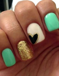 Mint + Gold = HOT nail art colors!