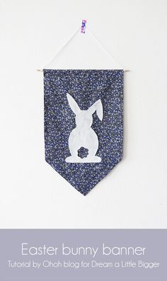 DIY (No-Sew) Easter Bunny Banner | Oh Oh Blog (FOR) Dream A Little Bigger (with bunny template)