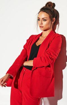 Lemoniade Dzianinowa marynarka czerwona L316A Things That Bounce, Raincoat, Blazer, Fashion, Dress, Rain Jacket, Moda, Fashion Styles