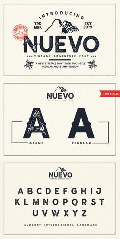Nuevo is a vintage display font including Regular and Textured versions. it's perfect for logos name card magazine layouts invitations headers or even large-scale artwork. Atjeh includes 4 OTF & TTF files within the Zip folder. Retro Font, Retro Logos, Vintage Fonts Free, Graphics Vintage, Vintage Logos, Vintage Typography, Vector Graphics, Typography Design, Logo Design