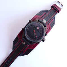 """While the company has yet to make a strap big enough to fit around a person's chest, that hasn't stopped Citizen watches from being """"close to the hearts of Leather Cuffs, Leather Men, Red Leather, Fancy Watches, Watches For Men, Wrist Watches, Luxury Watches, Skeleton Watches, Mens Watches Leather"""