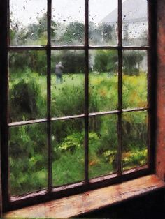 Rainy Day: Fine Art Print by Susan Savad - There's nothing more wonderful than looking out of the window on a rainy day with the scenery looking misty and beautiful, watching other people scurrying to get home. #window #rain #rainyday AS LOW AS $32