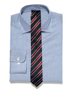 Blue stripe shirt, blue and red stripe tie