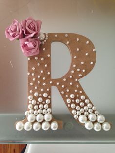 Crafts Wedding Wooden letter with pearls crafted for my pretty daughter Flower Letters, Diy Letters, Letter A Crafts, Pearl Letters, Diy And Crafts, Arts And Crafts, Paper Crafts, Wooden Crafts, Pearl Crafts