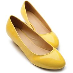 Low Heel Yellow Shoes  Tsaa Heel