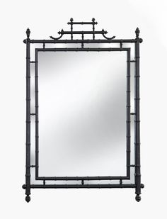 Vintage Faux Bamboo Black Chinoiserie Wall Mirror from City of Z Design