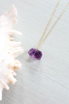 Chunky light lavender amethyst nugget necklace - Genuine polished faceted light purple amethyst necklace - February birthstone necklace
