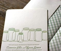 cute for rehersal - mason jar theme - could be cool to tie theme into invite (+poem)