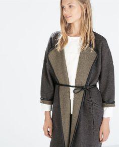 ZARA Grey Marl Wool Bathrobe-style Coat with Faux Leather Belt
