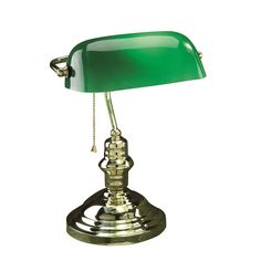 Lite Source LS-224PB Banker 1 Light Desk Lamp in Polished Brass with Green Glass Shade