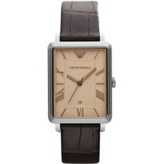Buy Emporio Armani Brown Classic Dino Mens Watch AR1661 new - Stainless steel case. Leather strap. Brown dial. Quartz movement. Date. Water resistant 50 meters. Case 41mm x 32mm. Color: Brown Dial Color: Brown Gender: Male Age: Adult Condition:...