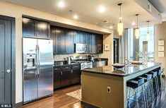 Spacious kitchen: The star's space certainly had room to cook for group gatherings