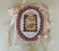 Shabby Chic Mixed Media Fabric Collage Book by KISoriginals