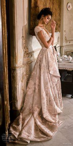 julie vino fall 2018 havana cap sleeves v neck full embellishent elegant glamorous sheath wedding dress a line overskirt open back chapel train (18) sdv