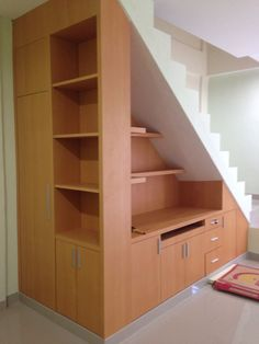 Under stair storage @ Anugerah Mitra Bahari office space. Under stair storage @ Anugerah Mitra Bahari office space. Staircase Storage, Basement Storage, Basement Stairs, House Stairs, Staircase Design, Basement Remodeling, Basement Ideas, Open Basement, Open Staircase
