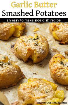 Potato Sides, Potato Side Dishes, Veggie Dishes, Food Dishes, Side Dish Recipes, Veggie Recipes, Vegetarian Recipes, Cooking Recipes, Smashed Potatoes Recipe