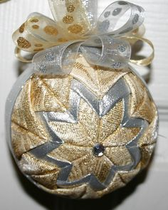 Silver & Gold Hoilday Fabric Quilted Ornament by WreathsByKari, $7.25