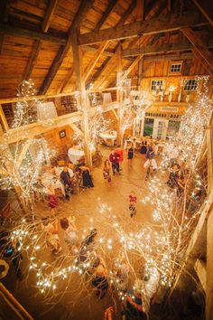 Vermont Barn Wedding from Trenholm Lights in branches hung in the rafters