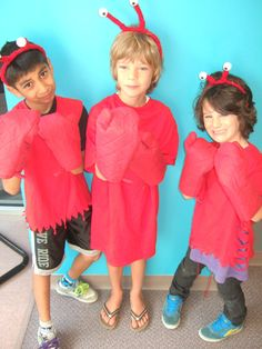 Upcycled Clothing Lobster Costume Alice in Wonderland Red Felt Covered Headband and Red Mitts