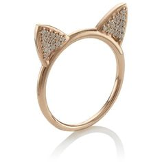 Aamaya By Priyanka Rose Gold Cat Ears Ring ($345) ❤ liked on Polyvore featuring jewelry, rings, accessories, aneis, anillos, gold, rose gold ring, band rings, indian jewellery and indian jewelry
