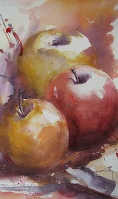 Pommes by Catherine Rey - Like the colors and shades of this watercolor! Watercolor Fruit, Fruit Painting, Watercolor Artists, Watercolor Techniques, Watercolor Flowers, Watercolor Paintings, Watercolors, Watercolor Wallpaper, Watercolor Drawing