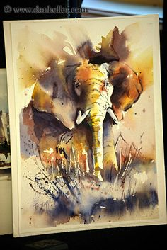 Elephant Watercolor Painting  artist unknown.