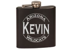 Personalized Engraved Black Flask, College Graduation gift, 21st birthday gift.  Your favorite sports team.