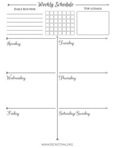 Simple Weekly Schedule Printable by SecretOwlSociety on Etsy, $2.50