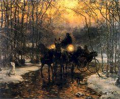Carriage Trip, c. 1880 by Alfred Wierusz-Kowalski (Polish, 1849—1915)