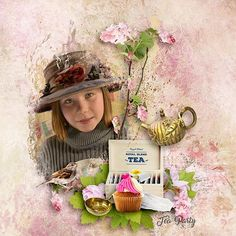 Layout by Norma. Digital Scrapbooking collection: Afternooon Tea by BooLand Designs  #digitalscrapbooking #scrapbooking #layoutinspiration.