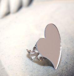 Love Mirror Cocktail Filigree Ring, by SeventhFloorDesign on Etsy