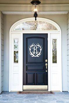 96 Best Front Door Paint Colors Pictures - Home/Decor/Diy/Design Front Door Paint Colors, Painted Front Doors, Front Door Decor, Front Door Design Wood, Wood Initials, Wood Monogram, Vine Monogram, Best Front Doors, Black Front Doors