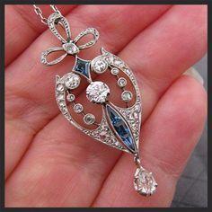 Antique Edwardian Platinum Diamond Sapphire Lavaliere Necklace from antiquejewelryexpo on Ruby Lane