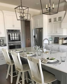 walls are agreeable gray. I like the island painted darker Kitchen Redo, Home Decor Kitchen, New Kitchen, Home Kitchens, Kitchen Remodel, Kitchen Design, Living Room Grey, Living Room Kitchen, Living Room Decor