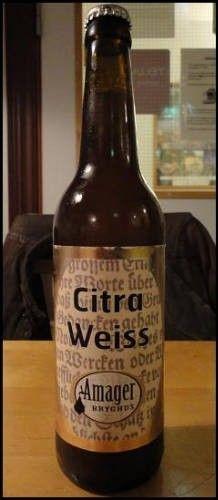 Cerveja Citra Weiss, estilo German Weizen, produzida por Amager Bryghus, Dinamarca. 5.2% ABV de álcool.