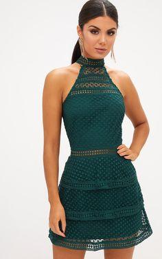 51553e391 Emerald Green Lace Panel Tiered Bodycon Dress Vestidos De Encaje Cortos