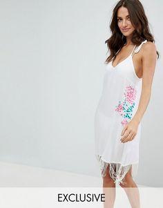 Akasa Embroidered Tassel Hem Beach Dress