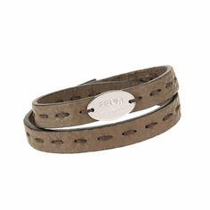 9566a4f451 FENDI 7AJ029 Fendi Selleria Men s Brown Leather Bracelet