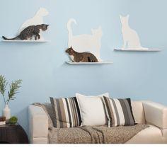 Silhouette Kitty Wall Shelves - Set of 3