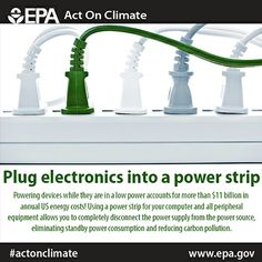 Use a power strip to reduce your energy consumption, save money and  #ActOnClimate.