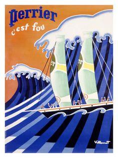 ¤ Vintage Ad. Perrier c'est fou. Bertrand Villemot.