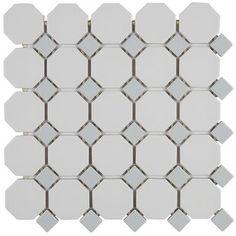 Itona Tile Osmond x Ceramic Octagon and dot Mosaic Wall & Floor Tile Grey Mosaic Tiles, Ceramic Mosaic Tile, Marble Mosaic, Mosaic Wall, Mosaic Glass, Mosaic Bathroom, Stone Mosaic, Porcelain Tile, Wall And Floor Tiles