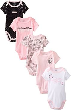 Calvin Klein Baby-Girls Newborn 5 Pack Pink Black and White Bodysuit , Multi, 6-9 Months Calvin Klein