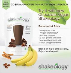 Banana Nut Bliss with Chocolate Vegan Shakeology. YUM!!!! Click the photo for more information. Shakeology Chocolat, Vegan Chocolate Shakeology, Vegan Shakeology, Shakeology Shakes, Shakeology Flavors, Protein Shakes, Smoothie Prep, Raspberry Smoothie, Chocolate