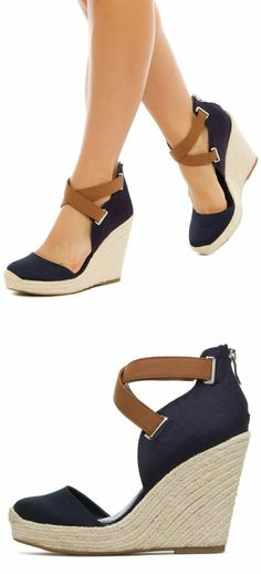 two tone wedge sandals