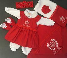 5bb50a847 Compre Saída de maternidade feminina vermelha no Elo7 por R$ 255,00 com  frete