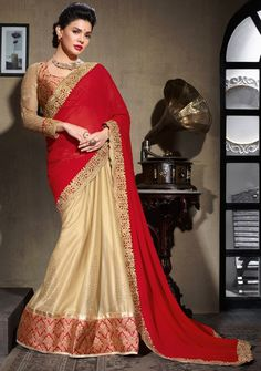 Captivating Cream and Red #Saree